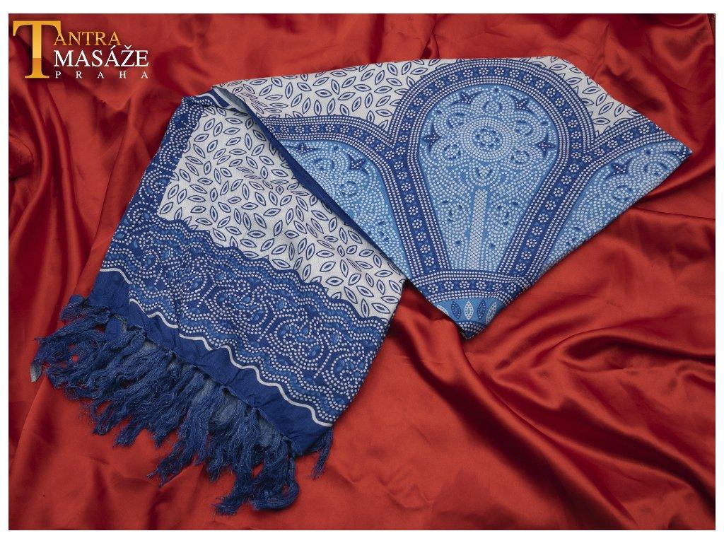 sarong flower modrý 01