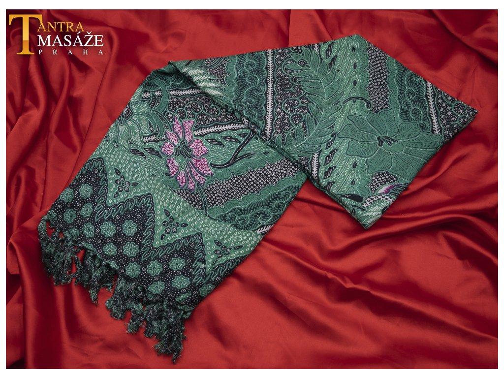 sarong peacock tmavě zelený 01