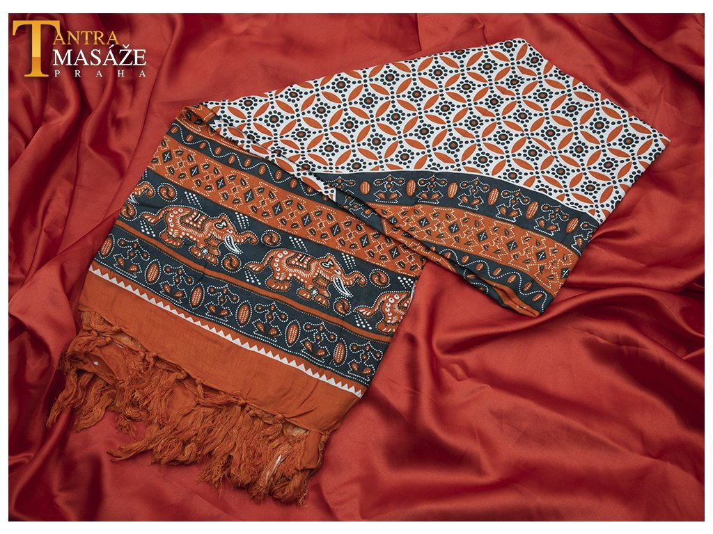 sarong mandala černooranžový 01