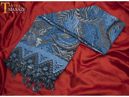sarong peacock modrý 01