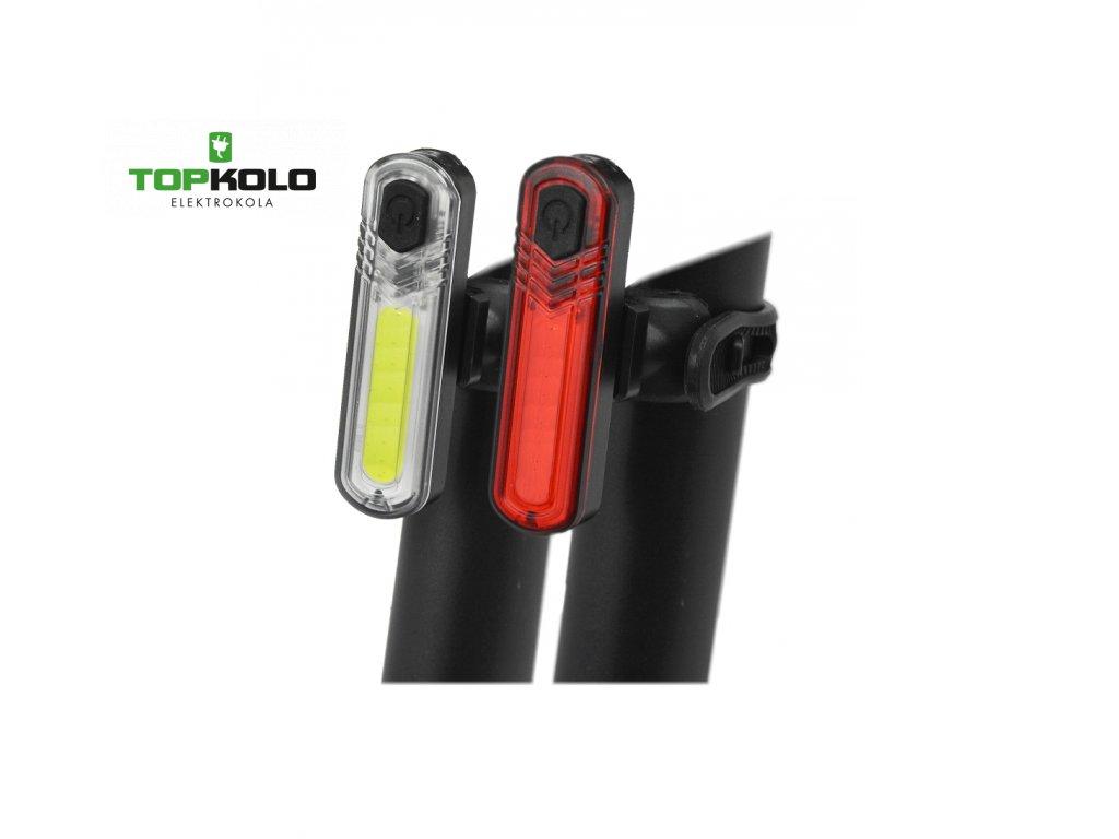 Sada blikaček MAXBIKE - dobíjecí  JY- 6056- vysoce svítivé + USB