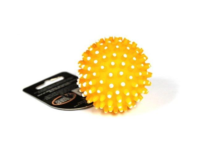 Míček s bodlinami pískací žlutý VINYL 6.5cm