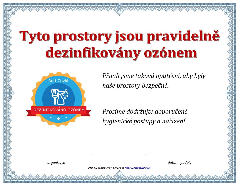 certifikat dezinfikovano ozonem