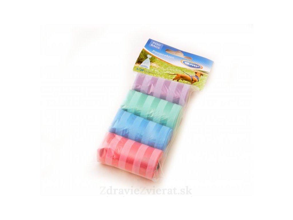 sacky duvo na zber psich vykalov farebne s pruzkami 4 x 20 ks
