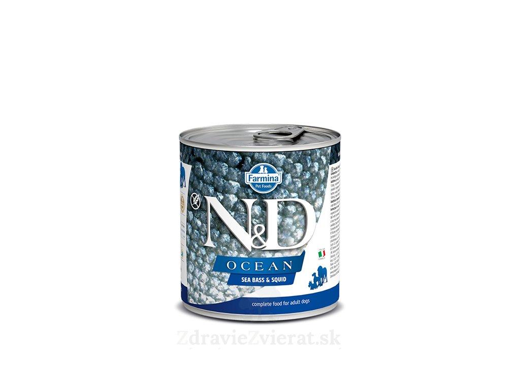 farmina n d dog ocean sea bass squid konzerva 285 g