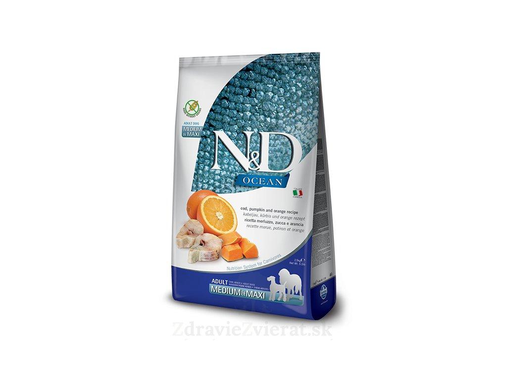 farmina n d dog gf pumpkin adult medium maxi codfish orange 12 kg