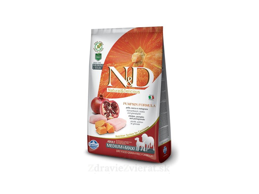 farmina n d dog gf pumpkin adult medium maxi chicken pomegranate 0 8 kg