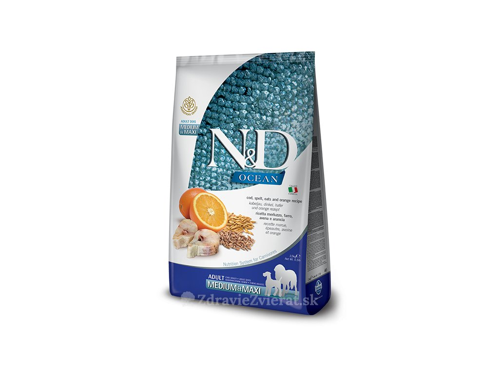 farmina n d dog ocean adult medium maxi codfish spelt oats and orange 12 kg