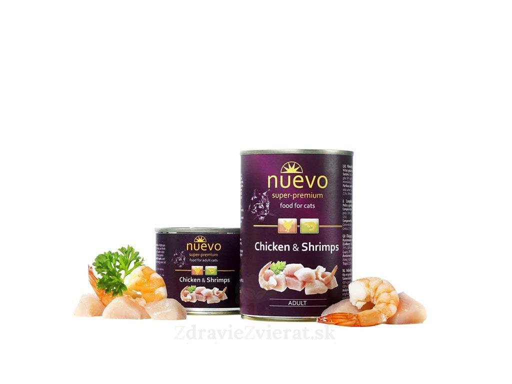 nuevo cat adult chicken shrimps 200 g konzerva