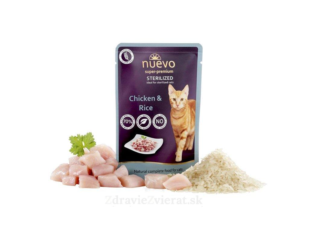 nuevo cat sterilized chicken with rice 85 g kapsicka