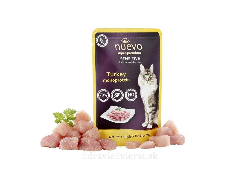 nuevo cat adult sensitive mono turkey 85 g kapsicka