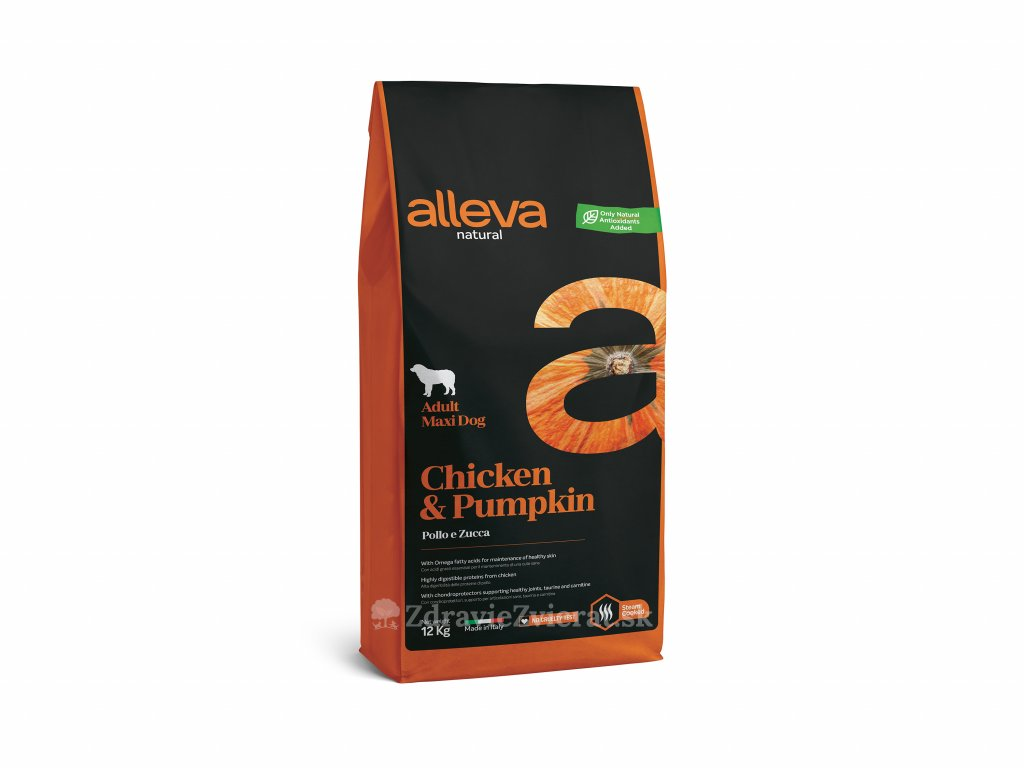 alleva natural dog chicken pumpkin adult maxi 12 kg