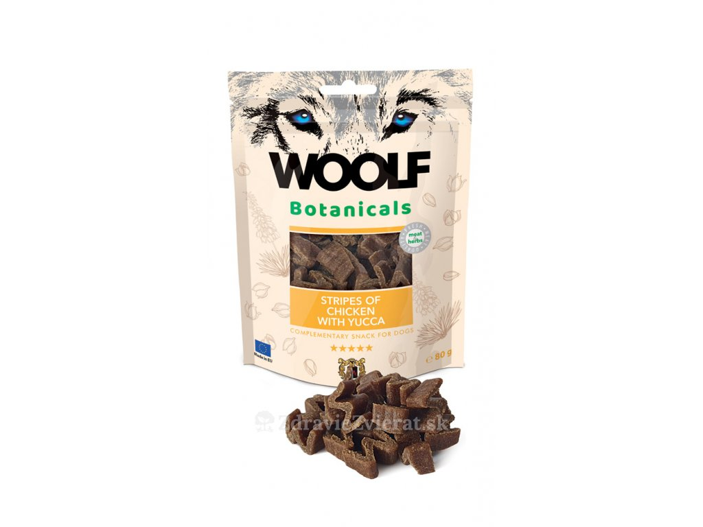 woolf dog botanicals chicken stripes with yucca 80 g