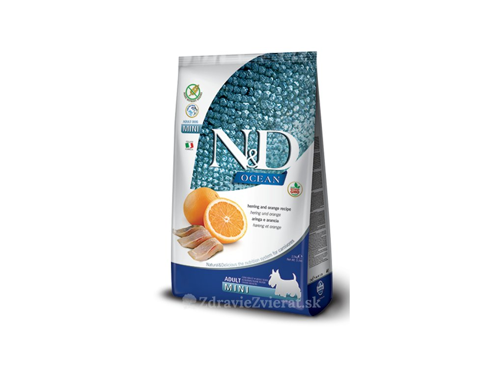 farmina n d dog ocean gf adult mini herring orange 2 5 kg