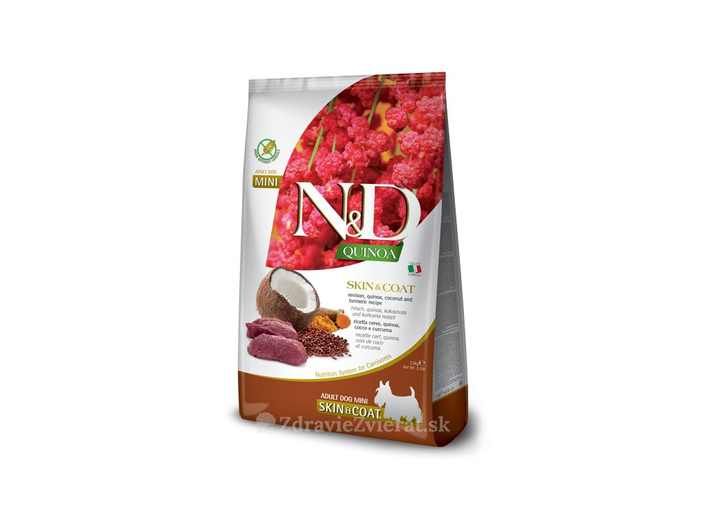 farmina n d dog quinoa gf adult mini skin coat venison coconut 2 5 kg