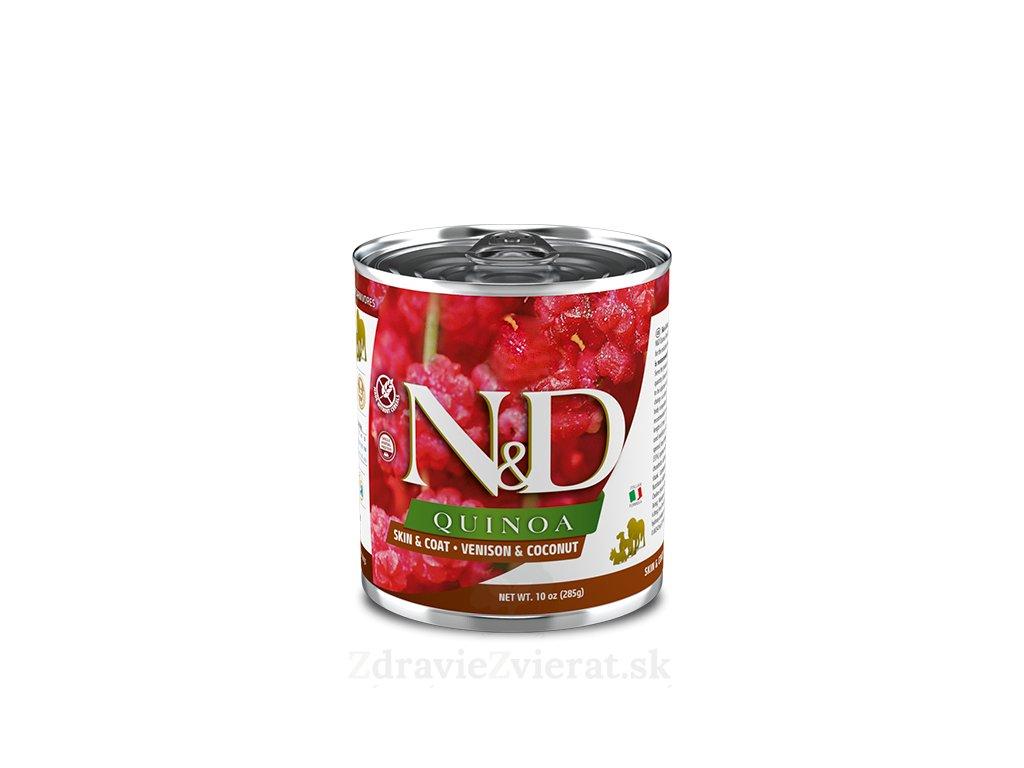 farmina n d dog quinoa skin coat venison coconut konzerva 285g