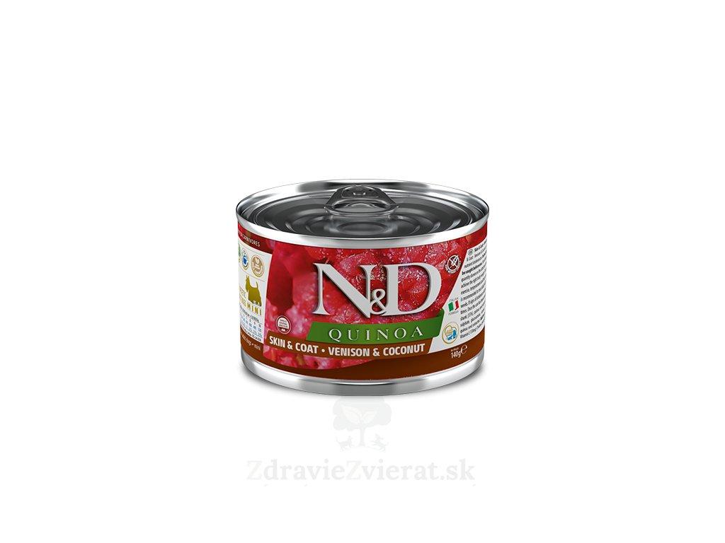 farmina n d dog quinoa skin coat venison coconut konzerva 140 g
