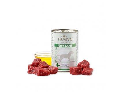 nuevo dog sensitive 100 lamb 400 g konzerva