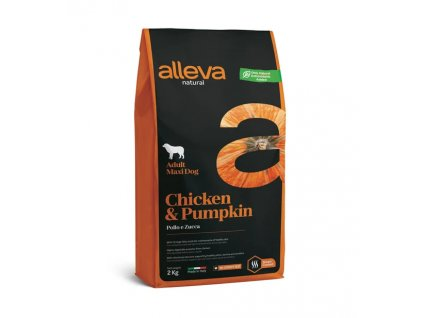 alleva natural dog chicken pumpkin adult maxi 2 kg