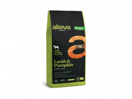 alleva natural dog lamb pumpkin adult medium maxi 12 kg