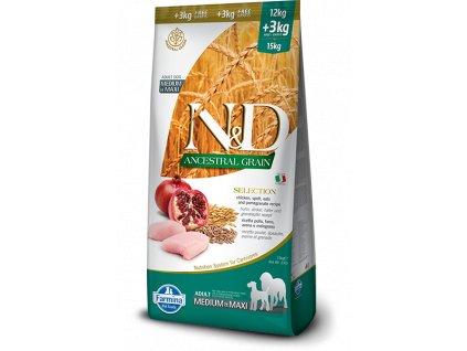 farmina n d dog lg selection adult medium maxi chicken spelt oats pomegranate 12 kg 3 kg gratis