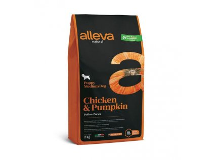 alleva natural dog chicken pumpkin puppy medium 2 kg