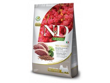farmina n d dog quinoa gf adult mini neutered duck broccoli asparagus 0 8 kg