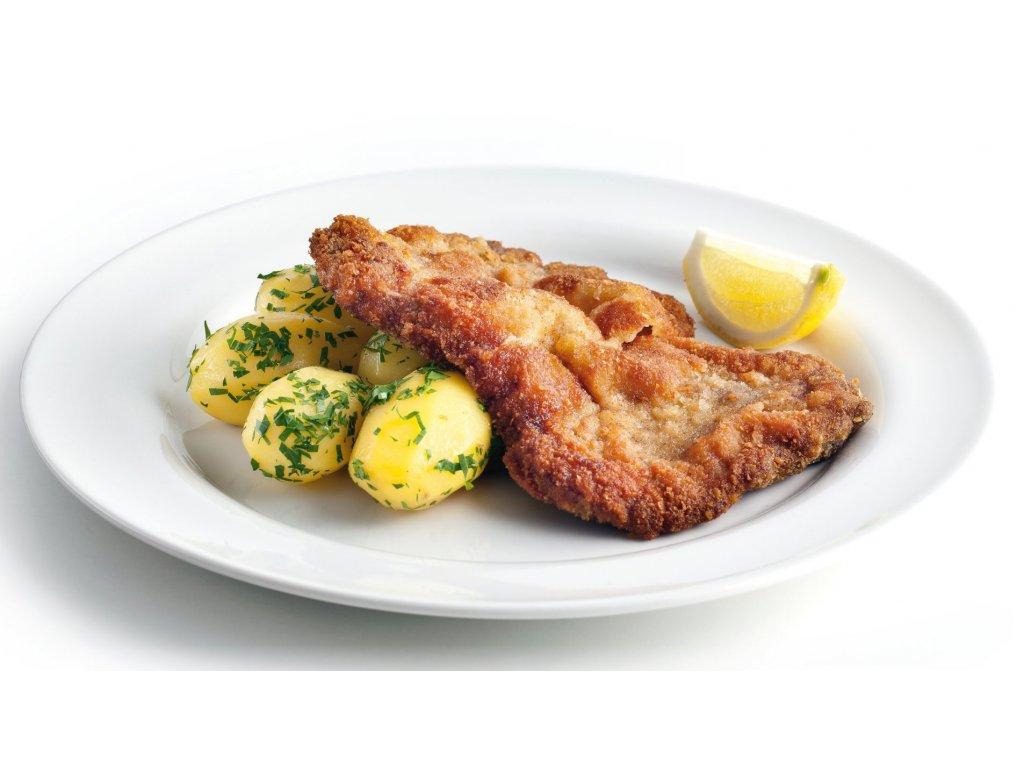 150g Vepřový řízek, vařené  brambory, okurka