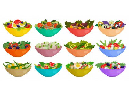 vegetable salad isolated cartoon set icon cartoon set icon bowl lettuce 158626 493