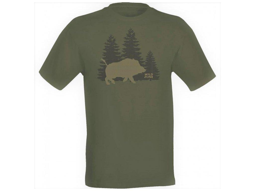 Wildzone triko zelené silueta divočáka