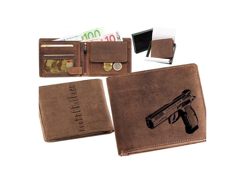 Kožená peněženka šířka pistole CZ75