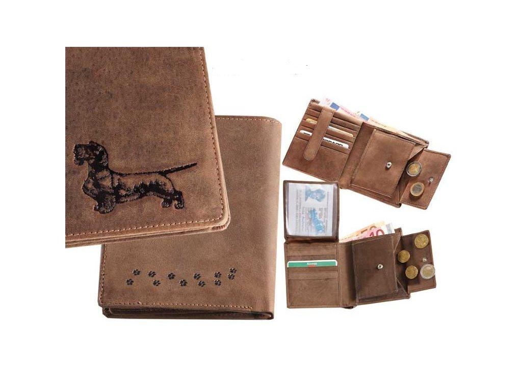 Kožená peněženka výšku Jezevčík 4