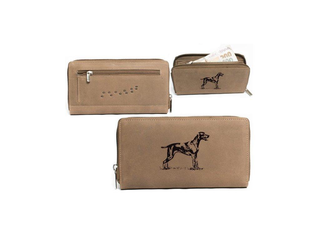 Kožená peněženka dámská Lovecký pes