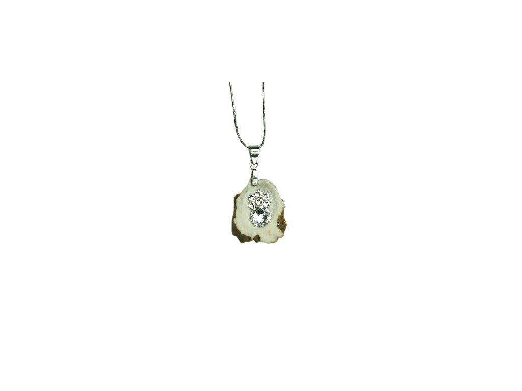 Náhrdelník srnčí s kamínky Swarovski Crystals a řetízkem z chirurgické oceli