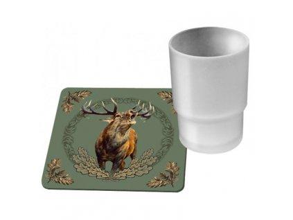 WildZone podložky pod skleničky zelené jelen