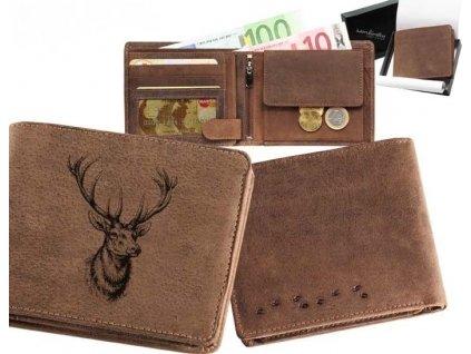 Kožená peněženka šířka Jelen hlava