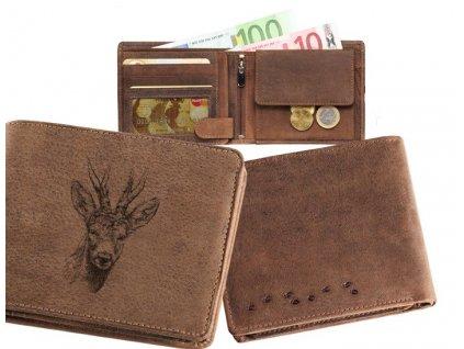 Kožená peněženka šířka Srnec hlava