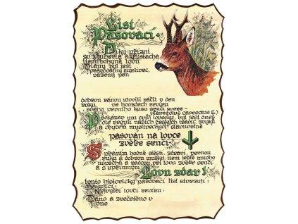 Pasovací list na lovce srnčí