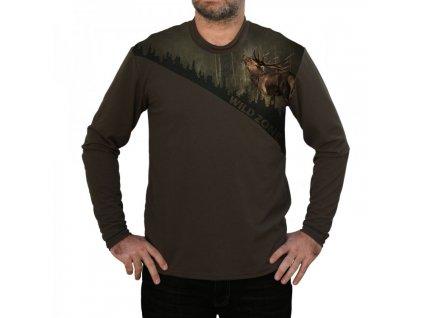 WildZone triko zelené dlouhý rukáv jelen