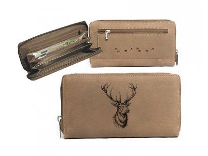Kožená peněženka dámská jelen