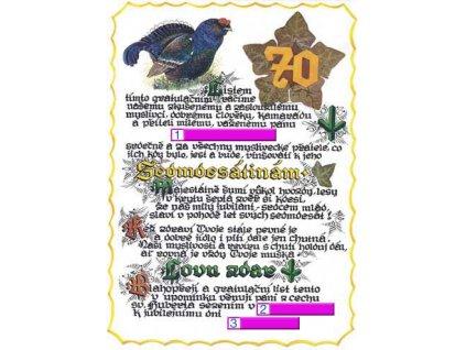 Gratulační list k životnímu jubileu 70 let
