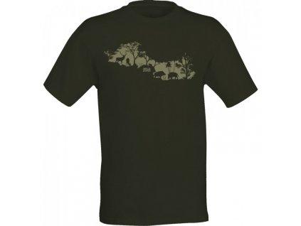 WildZone triko zelené siluety zvěře