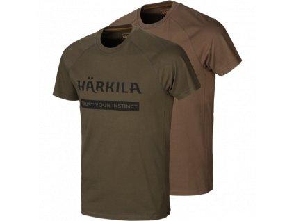 Härkila triko logo sada 2 triček zelené/hnědé