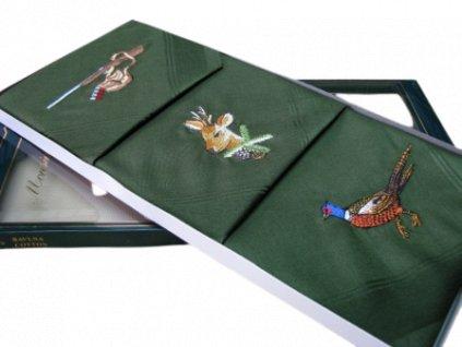 Irbis kapesníky zelené s výšivkou 3 ks
