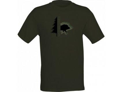 Wildzone triko zelené silueta divočáka nové