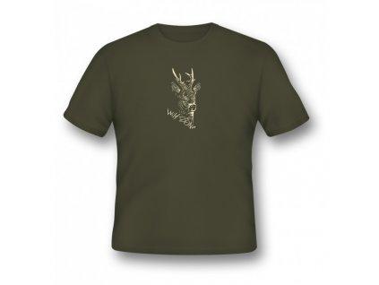 WildZone triko zelené srnec hlava