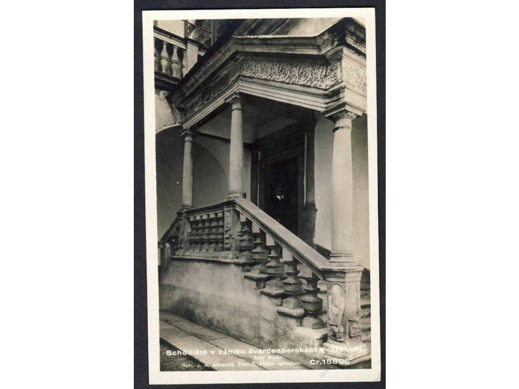 24 - Jindřichohradecko, Třeboň (Wittingau), schodiště zámku, foto Fon č.15805, cca 1930
