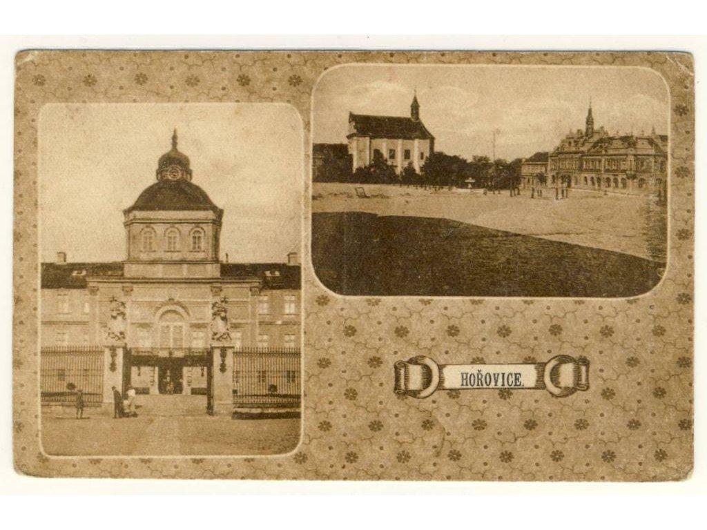 02 - Berounsko, Hořovice, 2 - záběr dominant města, náměstí.., ca 1916
