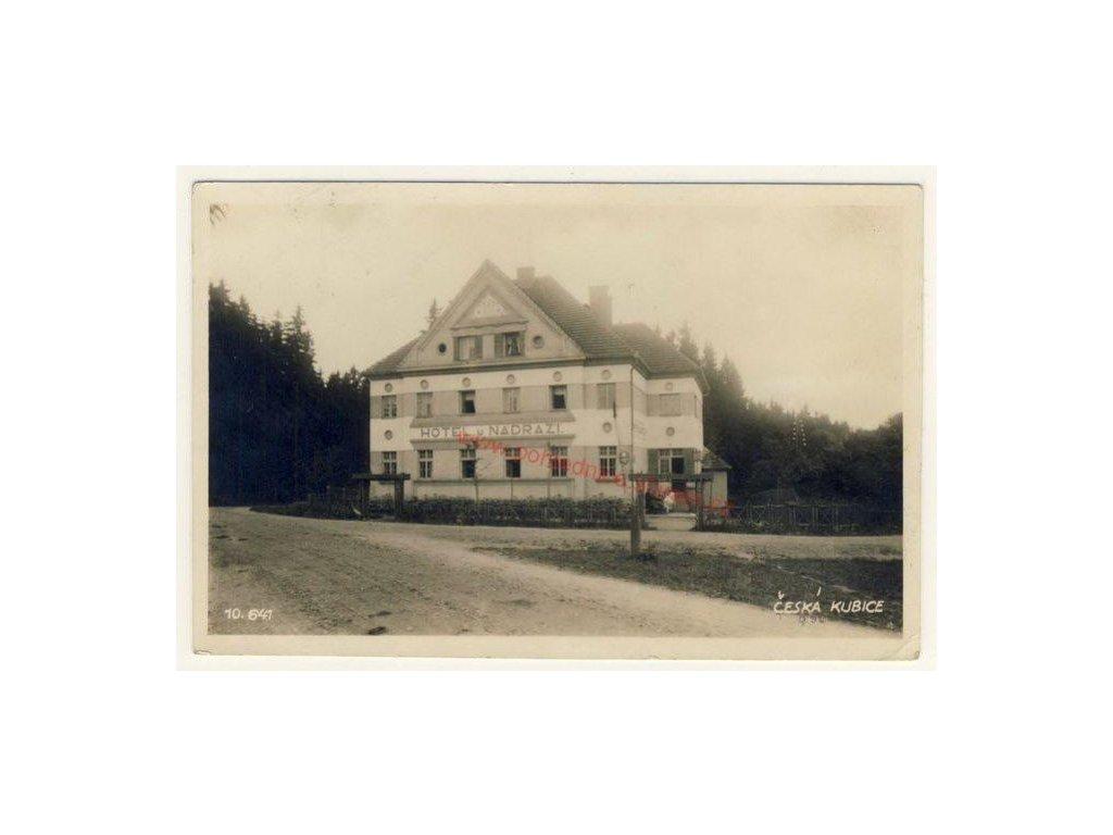 15 - Domažlicko, Česká Kubice, hotel U nádraží, cca 1930