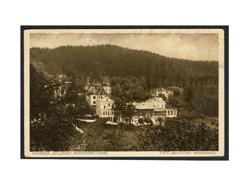 "08 - Chebsko, Mariánské lázně, kavárna ""Bellevue"" (Marienbad, Café ""Bellevue"", cca 1930"